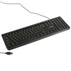 """Клавиатура Гарнизон GK-115, USB, """"поверхность- шлифованный алюминий"""", черный"""