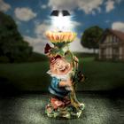 """Садовая фигура """"Гном с подсолнухом"""", с фонарём, 47 см"""