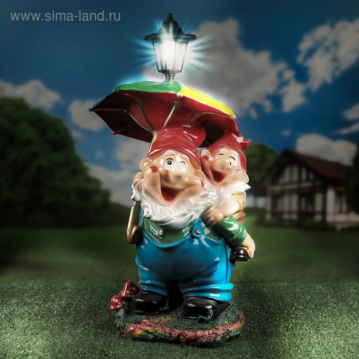 """Садовая фигура """"Гномы под зонтом"""", с фонарём, 57 см"""