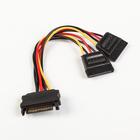 Кабель-разветвитель питания Cablexpert CC-SATAM2F-01, SATA 15pin(m)-2x15pin(f), 0.15 м