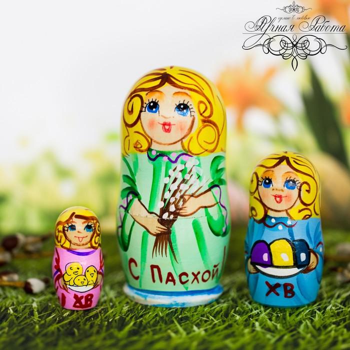 Матрёшка 3-х кукольная «Пасхальный ангел», 11 см