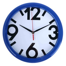 Часы настенные круглые 'Классика', синий обод, 28х28 см микс Ош