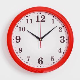 """Часы настенные """"Классика"""", арабские цифры, красный обод, 28х28 см"""