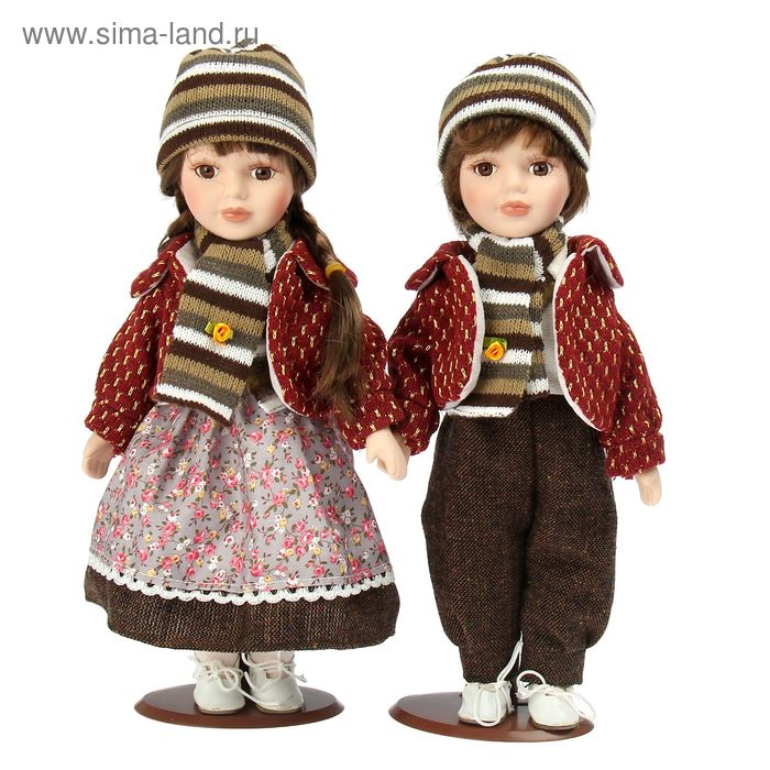 """Кукла коллекционная """"Ребята в вишнёвых куртках"""" в наборе 2 шт"""