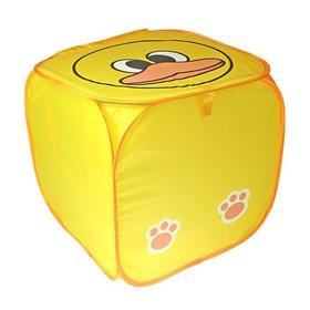 Корзина для игрушек «Утёнок» с ручками и крышкой, жёлтая