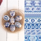 """Easter shrink wrap """"Gzhel"""" on 7 eggs"""