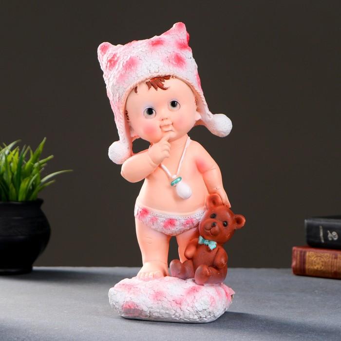 """Фигура """"Малыш стоящий с мишкой""""  31х11,5х11,5см  розовый"""