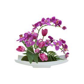 """Декоративные цветы """"Орхидея сиреневая c тюльпанами"""", на керам подставке"""
