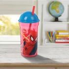 """Стакан 460 мл """"Человек-паук.Красная паутина"""" с соломинкой и крышкой-полусферой, прозрачный"""