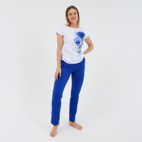 Комплект женский (футболка, брюки) Очарование цвет василек, р-р 52