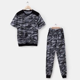 Комплект мужской (футболка, брюки) Спартак, принт камуфляж, размер 52
