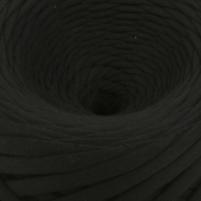 Пряжа трикотажная широкая 100м/320±15гр, ширина нити 7-9 мм (черный)