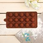 """Форма для льда и шоколада """"Смайлики"""", 15 ячеек, 20,7х10,2х1,7 см, цвет шоколадный"""