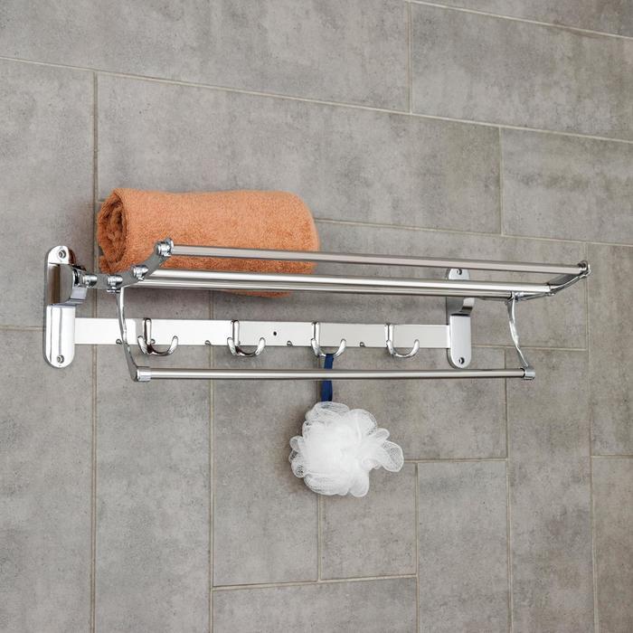Полка откидная с держателем полотенец, 4 двойных крючка, 58,5 ×25,5×15,5 см, цвет хром