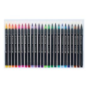Фломастеры, 24 цвета, в пластиковой коробке, вентилируемый колпачок, «Кисти» - фото 7258108