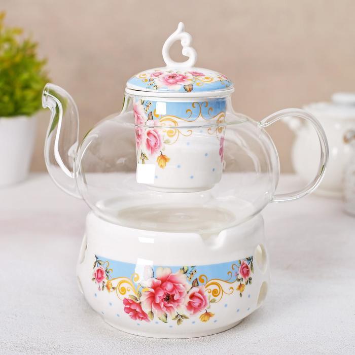 """Чайник заварочный 800 мл """"Софи"""", с керамическим ситом и подставкой для подогрева"""