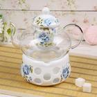 """Чайник заварочный 800 мл """"Синева"""", с керамическим ситом и подставкой для подогрева"""