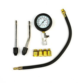 Cylinder compression pressure tester for petrol engines with a set of adapters in case