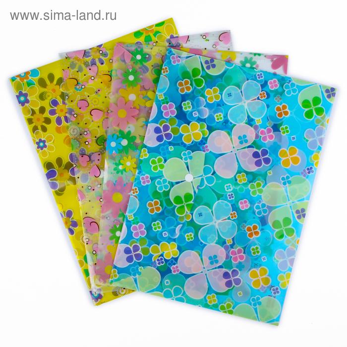 Папка-конверт на кнопке формат А4 120мкр МИКС Цветочки/Сердечки