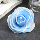"Декор для творчества ""Бело-голубая роза с блестками"" 7х7 см"