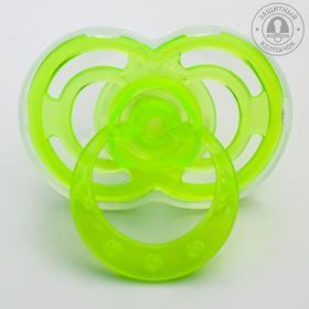 Пустышка силиконовая ортодонтическая «Бантик» с колпачком, от 0 мес., цвет зелёный