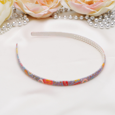 The headband Olivia 0.8 cm, patterned leaves, mix