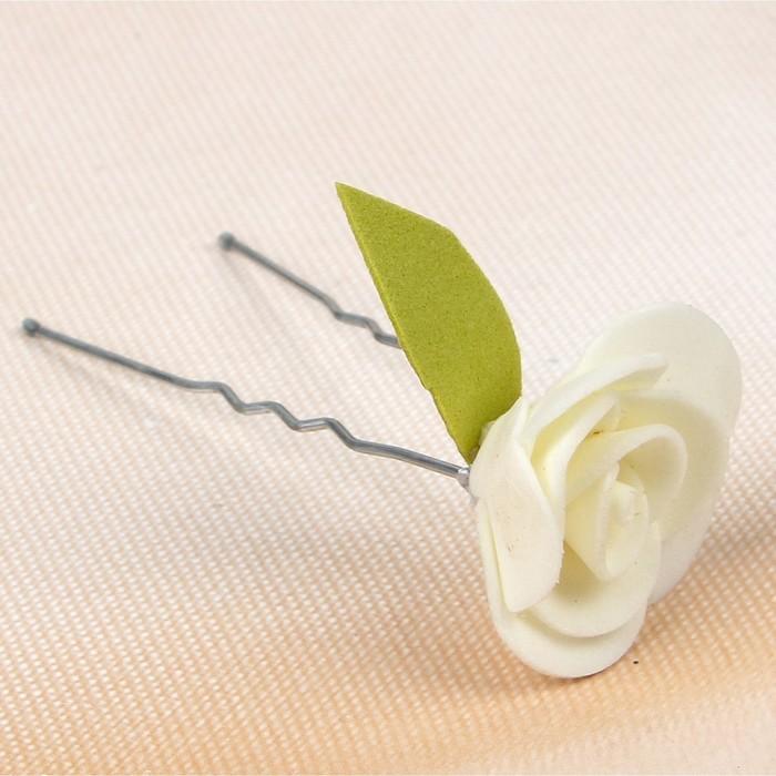 """Набор цветков на шпильке """"Роза"""", с листком, 10 шт, айвори"""