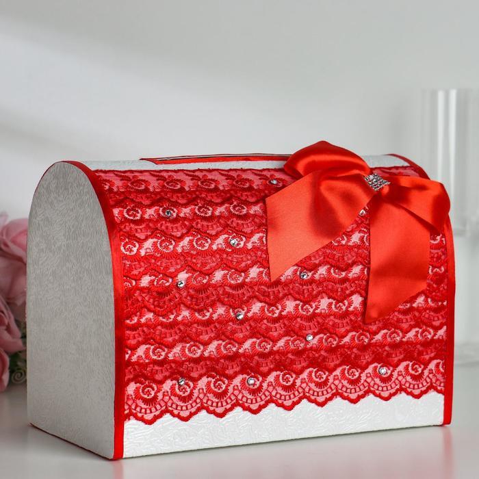 Коробка для денег «Кружево+стразы», красная, неразборная