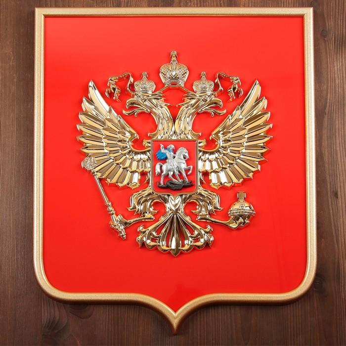 Герб России 42х50см пластик, металлизация, рамка под золото