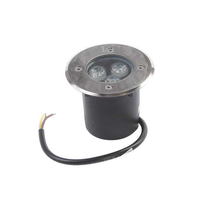 Светильник встраиваемый светодиодный грунтовый Luazon 3 Вт, d=90 мм, IP65, 220В, МУЛЬТИ(RGB)