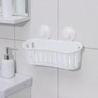 Держатель для ванных принадлежностей на вакуммных присосках, 30×11×9 см, цвет белый