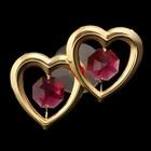 Сувенир «Два сердца», на присоске, с кристаллами Сваровски