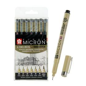 Набор ручек капиллярных 7 штук (линеры 0.2, 0.25, 0.3, 0.35, 0.45, 0.5; кисть Brush), Sakura Pigma Micron (пигментные светостойкие чернила)