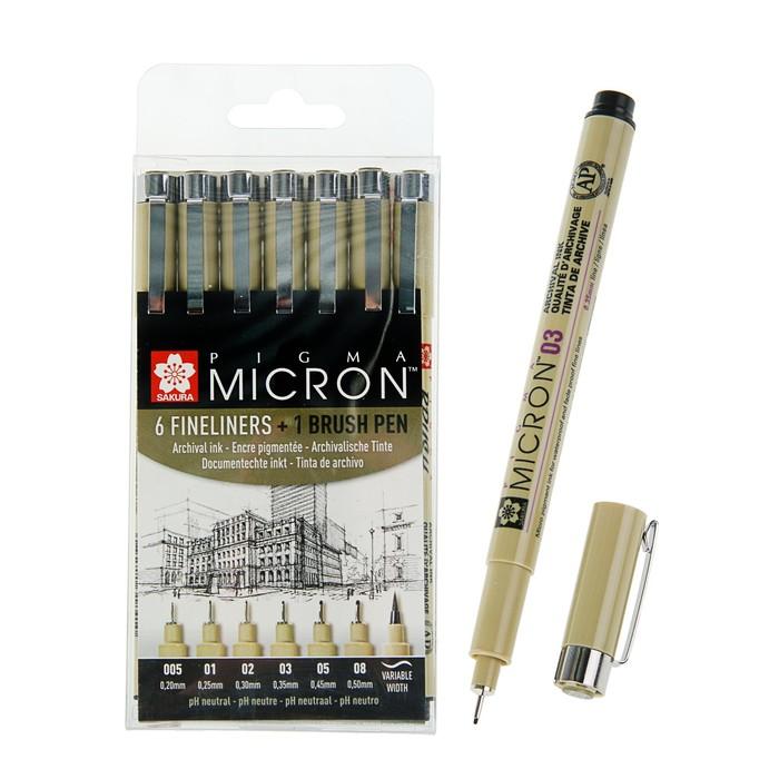Ручка капиллярная, набор Sakura Pigma Micron Manga, разные типы, 6 штук (0.2, 0.25, 0.3, 0.35, 0.45, 0.5, B)