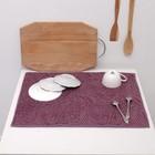 Полотенце из микрофибры для сушки посуды Жаккард 38х51см, фиолет, 250г/м2