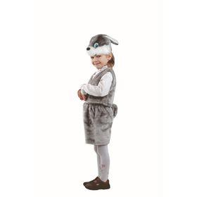 Карнавальный костюм «Серый заяц», мех, размер 28, рост 110 см