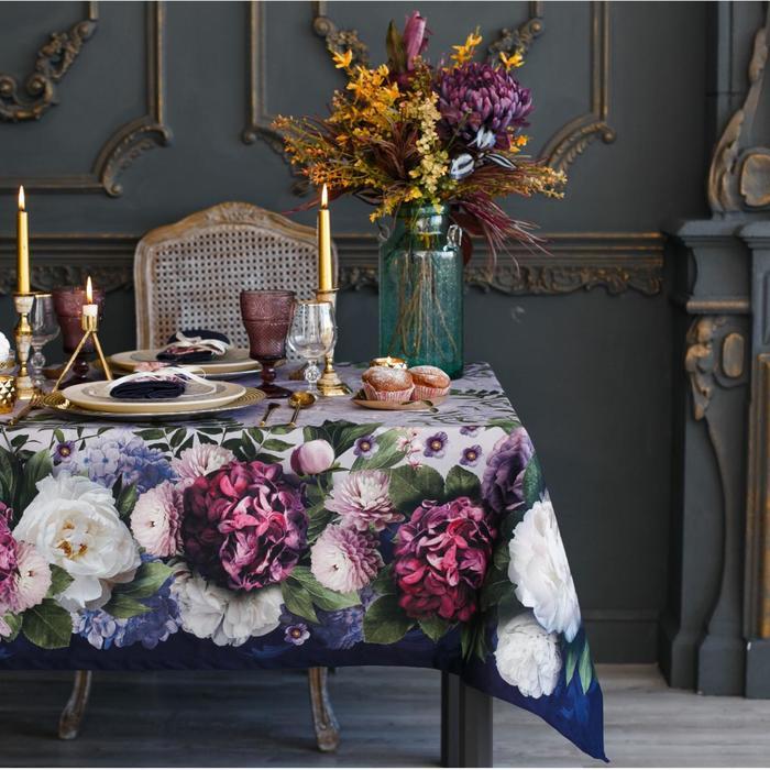 Скатерть «Этель» «Цветочный этюд» 150 × 180 см, хлопок 100 %, саржа 190 г/м²