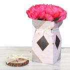 Складная коробка–ваза «Мрамор», 12 х 12 х 23 см