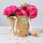 Пакет для цветов с шильдиком и атласными лентами «Золотые капли»