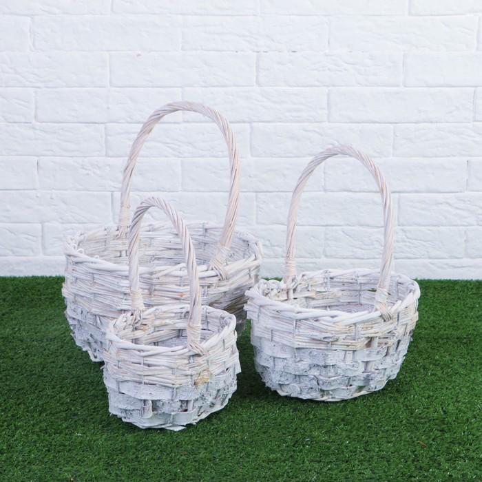 Набор корзин плетеных, ива, береста, 26×21×13/30 см, 3 шт