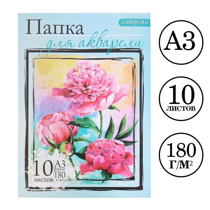 """Папка для акварели """"Цветы"""" А3, 10 листов, 180г/м"""