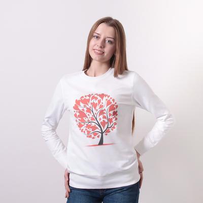 "Свитшот женский family look ""Дерево с сердцем"" цвет молочный, р-р 48-50(L)"