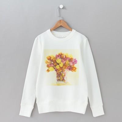 """Свитшот женский  """"Тюльпаны"""" OXO-0202-012, цвет молочный, размер 54(XXL)"""