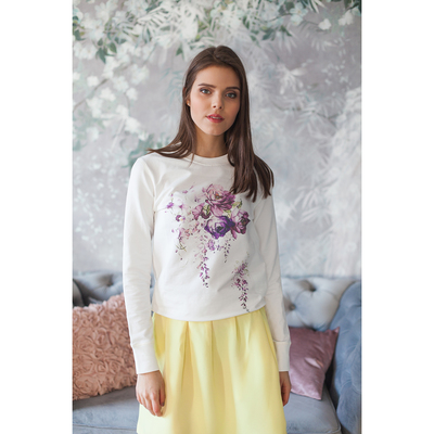 "Свитшот женский family look  ""Сиреневый цветок"" OXO-0202-011, цвет молочный, р-р 52(XL)"