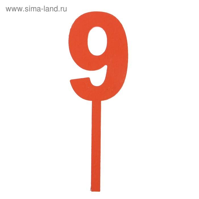 """Топпер цифра """"9"""", красный, 4х12см"""