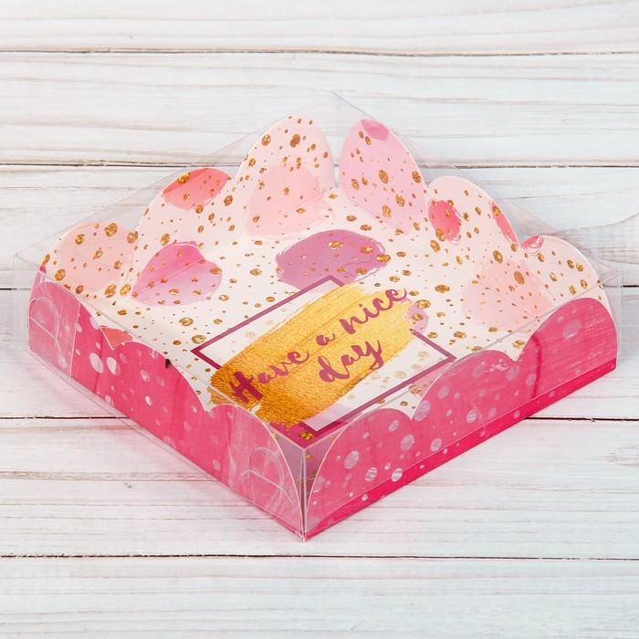 Коробка для кондитерских изделий с PVC-крышкой Have a nice day, 10.5 × 10.5 × 3 см