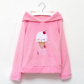 """Джемпер детский с капюшоном KAFTAN """"Candy"""" (пломбир), розовый, р-р 32, 100% п/э, велсофт"""