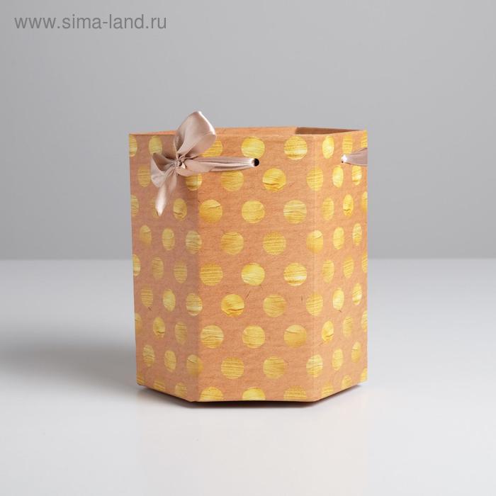 Коробка складная шестригранник «Золотой горошек», 17 х 14,8 х 19,5 см