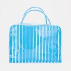 Косметичка ПВХ, отдел на молнии, 2 ручки, цвет голубой - фото 1769762