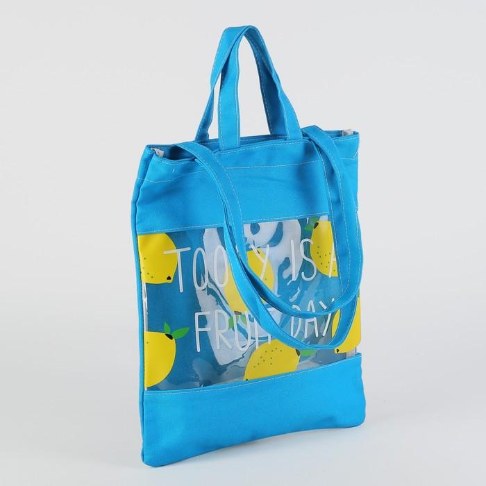 Сумка текстильная «Фрукты», отдел без молнии, двойные ручки, цвет голубой